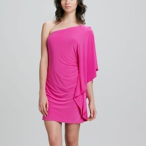 Trina Turk Pink Cosmic One-Shoulder Ruffle Dress